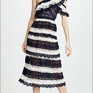 self portrait striped crochet dress